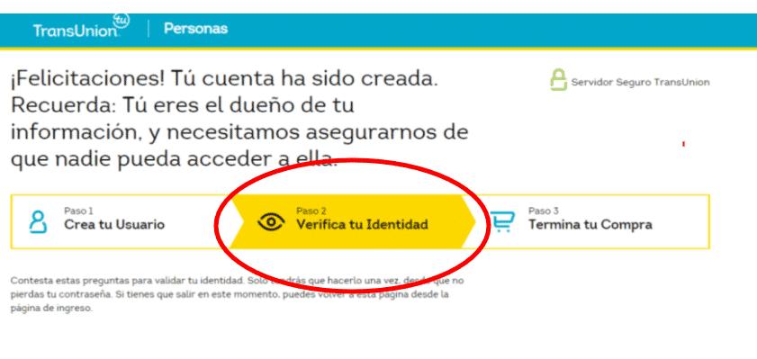 Verificación de la identidad para acceder al Historial en CIFIN Transunion