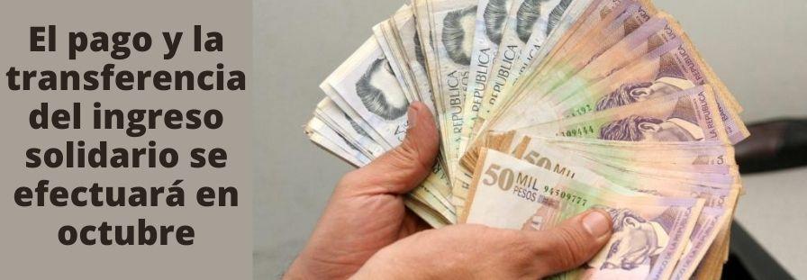 El pago y la transferencia del ingreso solidario se efectuará en octubre (1)