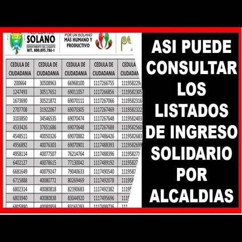 Listados de Ingreso Solidario, Consulta en tu Alcaldía Online