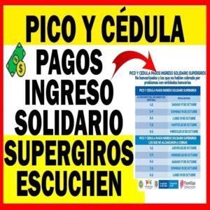 Pico y Cédula Pago Ingreso Solidario - SuperGIROS